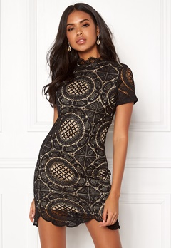 Girl In Mind Lace Dress Black Bubbleroom.fi