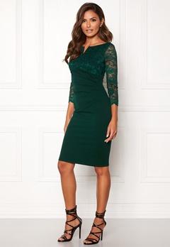 Goddiva Lace Top Midi Dress Emerald Bubbleroom.fi