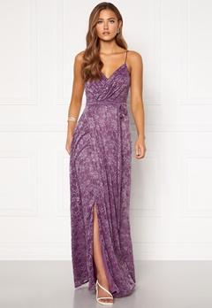 Goddiva Lace Wrap Maxi Dress Dusty Lavender Bubbleroom.fi