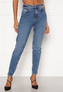 Pieces Leah Mom HW Jeans Medium Blue Denim Bubbleroom.fi