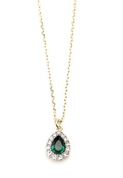 LILY AND ROSE Amelie Necklace Emerald Bubbleroom.fi