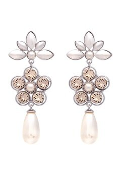 LILY AND ROSE Aurora Pearl Earrings Ivory Silk Bubbleroom.fi