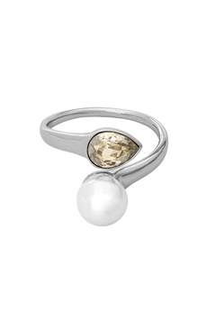 LILY AND ROSE Ella Pearl Ring Ivory Silver Bubbleroom.fi