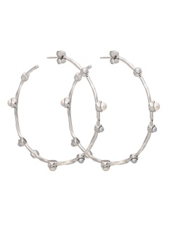 LILY AND ROSE Jagger Hoops Earrings Ivory Silver Bubbleroom.fi