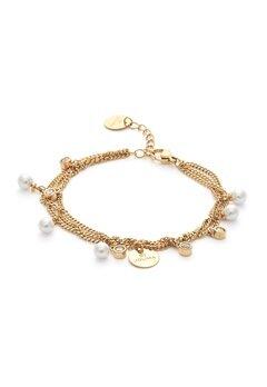 BY JOLIMA Liz Multi Charm Bracelet Milky White Gold Bubbleroom.fi
