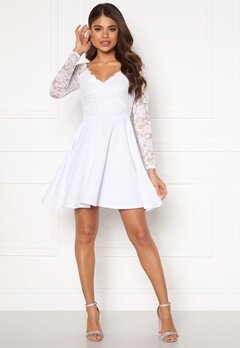 Goddiva Long Sleeve Skater Dress White Bubbleroom.fi