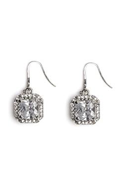 Love Rocks Square Glass Earring Silver Bubbleroom.fi