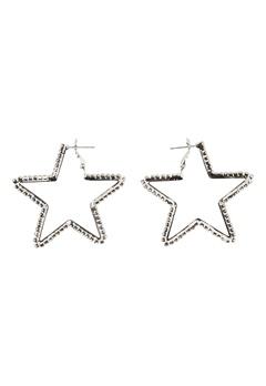 Love Rocks Star Cut Out Earrings Silver Bubbleroom.fi