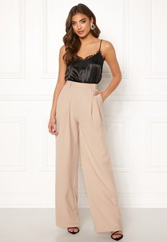 Make Way Bea wide trousers Beige Bubbleroom.fi