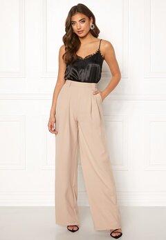 Make Way Bea wide trousers Beige Bubbleroom.fi