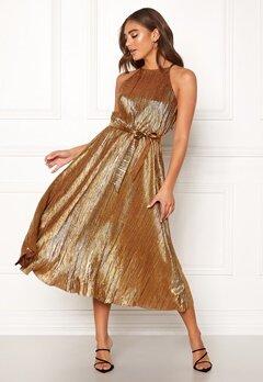 Make Way Calista pleated dress Bronze Bubbleroom.fi