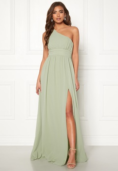 Make Way Ellamae one shoulder gown Dusty green Bubbleroom.fi