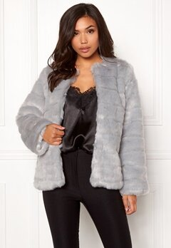 Make Way Freia faux fur jacket Light grey Bubbleroom.fi