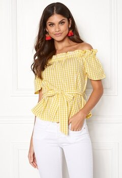 Make Way Kassey off shoulder top Light yellow / White / Checked Bubbleroom.fi