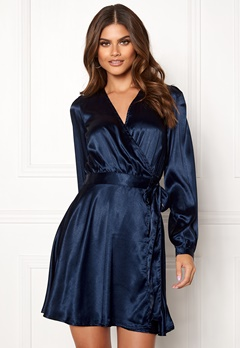 Make Way Ophelia wrapped dress Dark blue Bubbleroom.fi