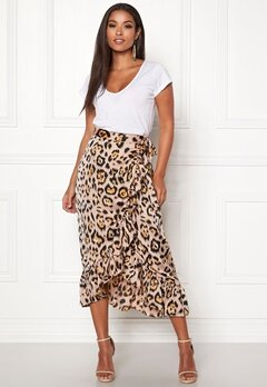 ONLY Malou Wrap Skirt Black/Leo Bubbleroom.fi