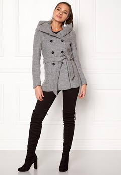 ONLY mary lisa short wool coat Light Grey Melange Bubbleroom.fi