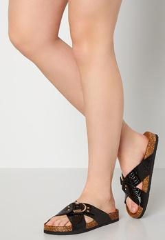 ONLY Maxi PU Croc Crossover Sandal Black Bubbleroom.fi