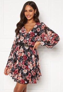 Girl In Mind Maya Cuffed Sleeve Mini Dress Black/Pink Floral Bubbleroom.fi