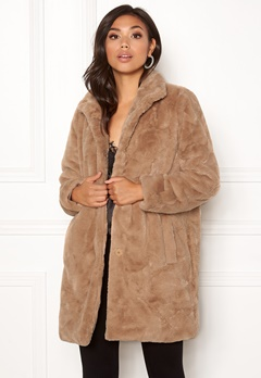 OBJECT Mia Faux Fur Coat Oatmeal Bubbleroom.fi
