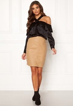 Moa Mattsson X Bubbleroom Coated skirt Camel Bubbleroom.fi