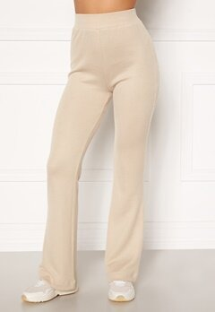 Moa Mattsson X Bubbleroom Cozy rib trousers Light beige Bubbleroom.fi