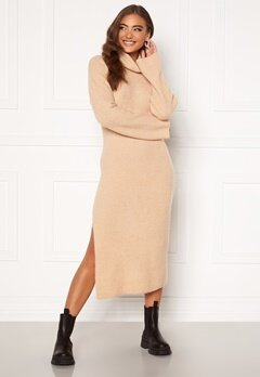 Moa Mattsson X Bubbleroom Knitted high slit midi dress Beige Bubbleroom.fi