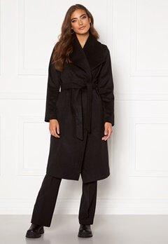 Moa Mattsson X Bubbleroom Pointy collar coat Black Bubbleroom.fi