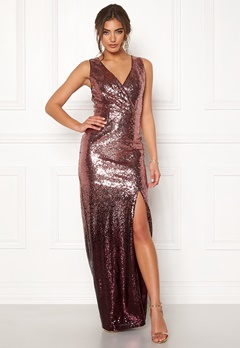 Moments New York Alicia Sequin Gown Dark red Bubbleroom.fi