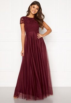 Moments New York Anna Mesh Gown Wine-red Bubbleroom.fi