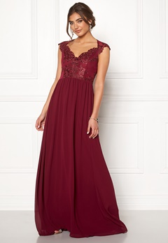 Moments New York Blossom Chiffon Gown Wine-red Bubbleroom.fi
