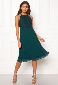Moments New York Casia Pleated Dress Dark green Bubbleroom.fi