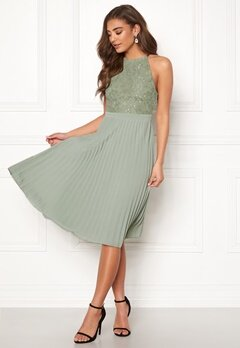 Moments New York Casia Pleated Dress Dusty green Bubbleroom.fi