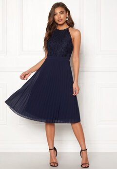 Moments New York Casia Pleated Dress Navy Bubbleroom.fi