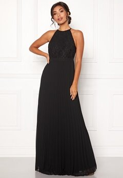 Moments New York Casia Pleated Gown Black Bubbleroom.fi