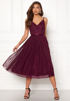 Moments New York Daphne Mesh Dress Wine-red Bubbleroom.fi