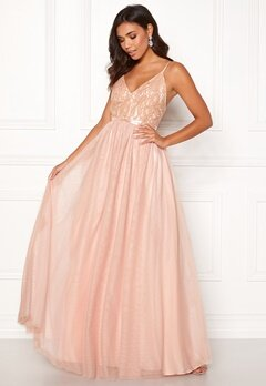 Moments New York Daphne Mesh Gown Dusty pink Bubbleroom.fi