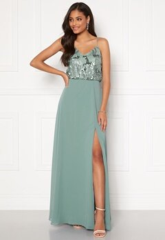 Moments New York Elouise Sequin gown Dusty green Bubbleroom.fi