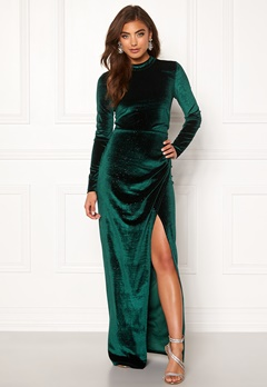 Moments New York Inda Velvet Gown Dark green Bubbleroom.fi