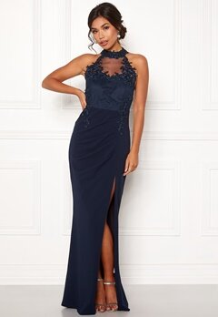 Moments New York Iris Drape Gown Dark blue Bubbleroom.fi