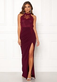 Moments New York Iris Drape Gown Wine-red Bubbleroom.fi