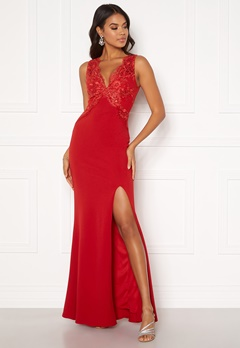 Moments New York Isabella Lace Gown Red Bubbleroom.fi