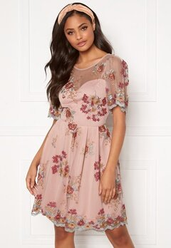 Moments New York Isolde Embroidered Dress Dusty pink Bubbleroom.fi
