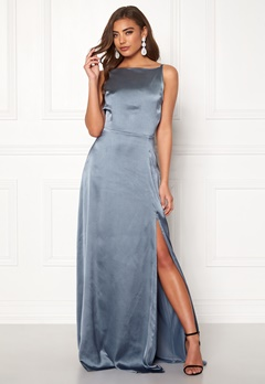 Moments New York Laylani Satin Gown Dusty blue Bubbleroom.fi