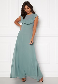 Moments New York Lea Frill Gown Green Bubbleroom.fi