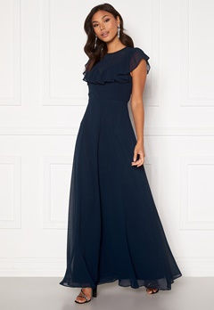 Moments New York Lea Frill Gown Navy Bubbleroom.fi