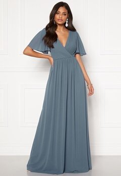Moments New York Liana Chiffon Gown Grey-blue Bubbleroom.fi