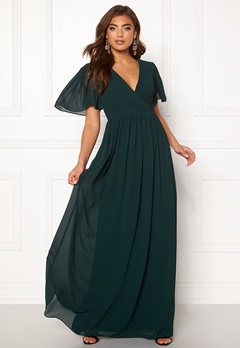 Moments New York Liana Chiffon Gown Dark green Bubbleroom.fi