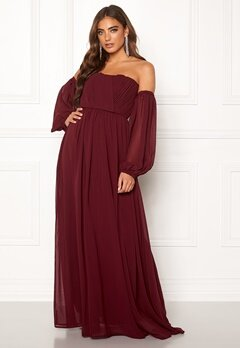 Moments New York Liliane Pleated Gown Wine-red Bubbleroom.fi