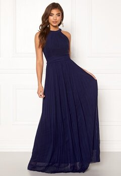 Moments New York Linnea Pleated Gown Navy Bubbleroom.fi